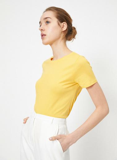 Koton Bisiklet Yaka Basic T-Shirt Sarı
